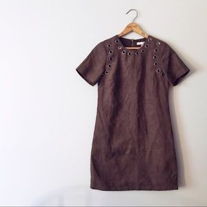 WD.NY Studded Faux Suede Brown Mod Mini Dress
